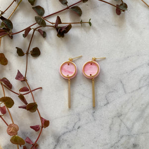 Mini Rise Earrings- Pink & cherry marble