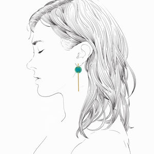 Rise Earrings- Teal Green Marble