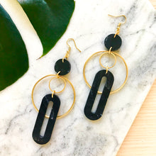 Load image into Gallery viewer, Solar Earrings- Black Marble