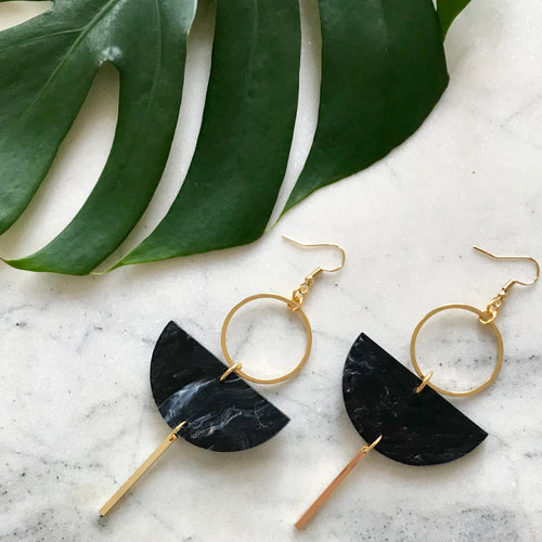Eclipse Earrings- Black Marble