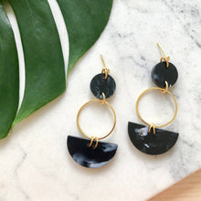 Load image into Gallery viewer, Mini Eclipse Earrings- Black Marble