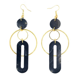 Solar Earrings- Black Marble