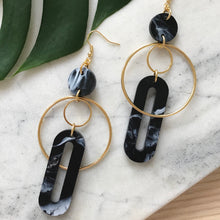 Load image into Gallery viewer, Solar Earrings- Black & White Marble