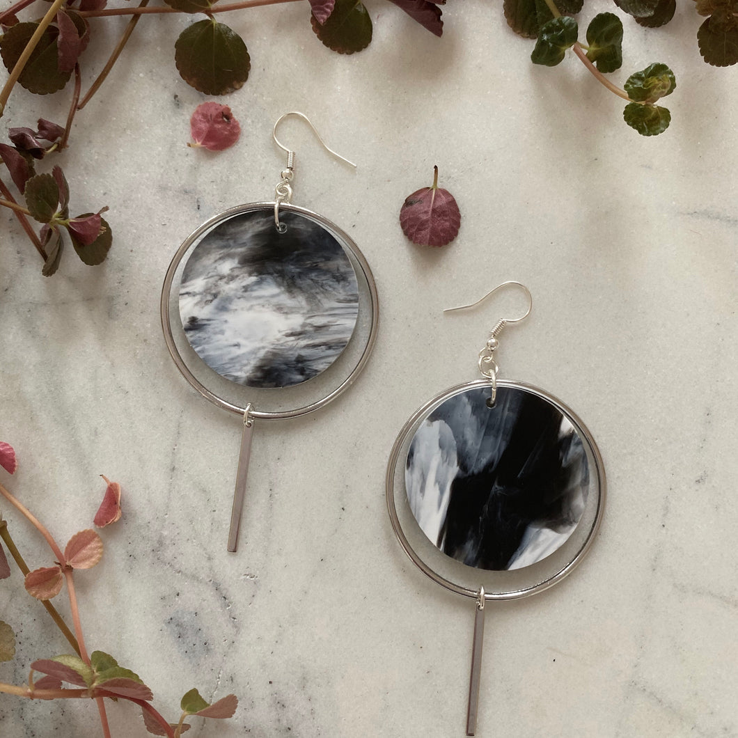 Halo Earrings- White & Black Marble