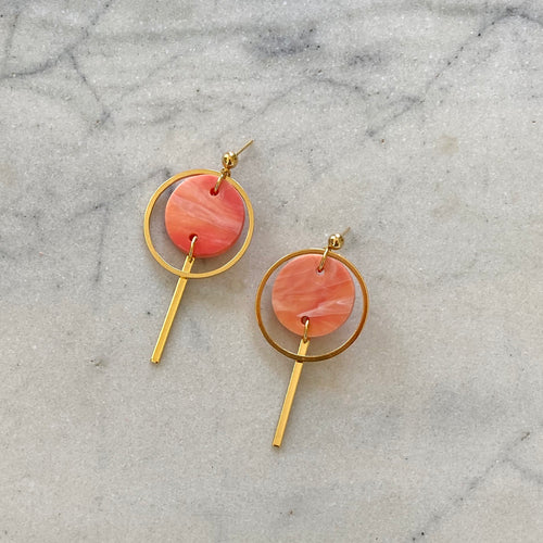 Mini Halo Earrings- Precious Coral