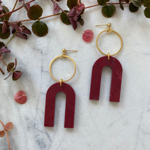 Magneto Earrings(L)- Merlot Marble
