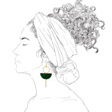 Load image into Gallery viewer, Eclipse Earrings- Malachite Green
