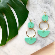 Load image into Gallery viewer, Mini Eclipse Earrings- Jade Green Marble