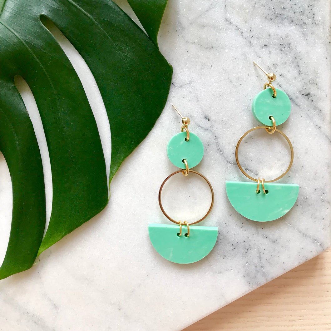 Mini Eclipse Earrings- Jade Green Marble