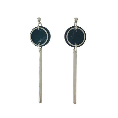 Rise Earrings- Dark Grey Marble