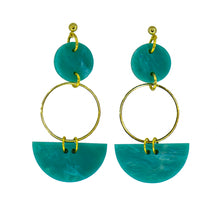 Load image into Gallery viewer, Mini Eclipse Earrings- Teal Green Marble