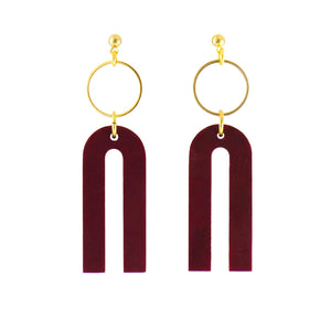 Magneto Earrings (S)- Merlot Marble