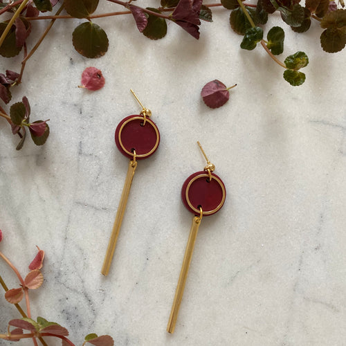 Rise Earrings- Merlot Marble