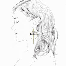 Load image into Gallery viewer, Lunar Earrings- White & Black Marble