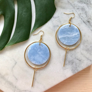Halo Earrings- Soft Blue Marble