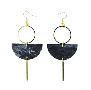Eclipse Earrings- Dark Grey Marble