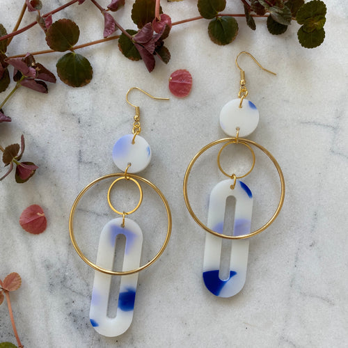 Solar Earrings- Frosted Delft