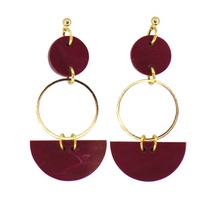 Load image into Gallery viewer, Mini Eclipse Earrings- Merlot Marble