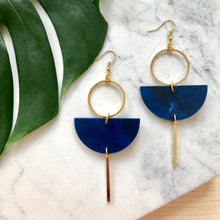 Load image into Gallery viewer, Eclipse Earrings- Dark Navy Blue Marble