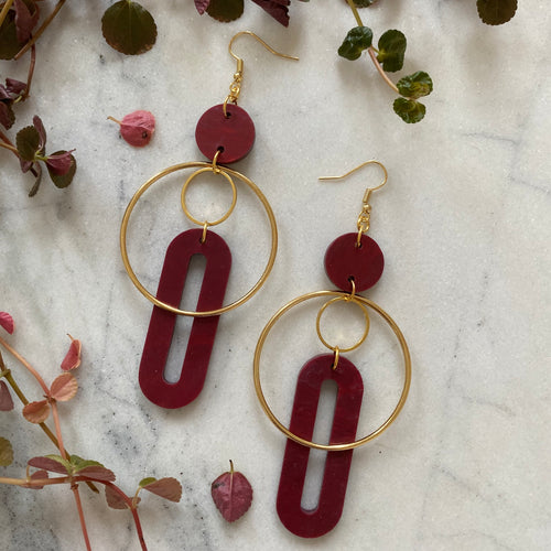 Solar Earrings- Merlot Marble