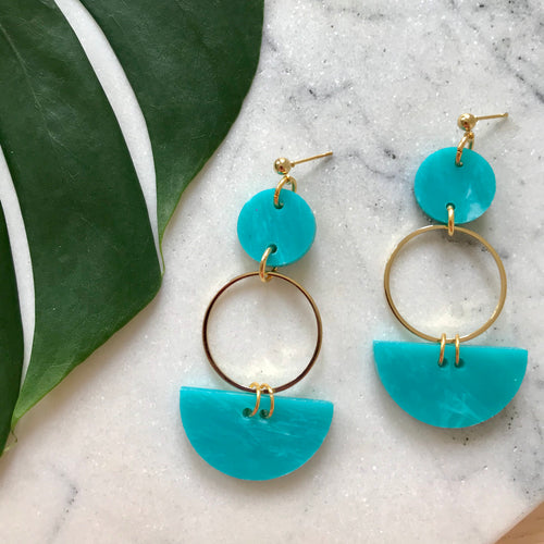 Mini Eclipse Earrings- Teal Green Marble