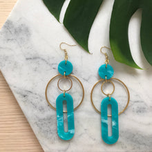Load image into Gallery viewer, Solar Earrings- Teal Green Marble