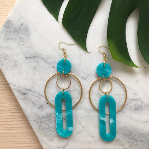 Solar Earrings- Teal Green Marble