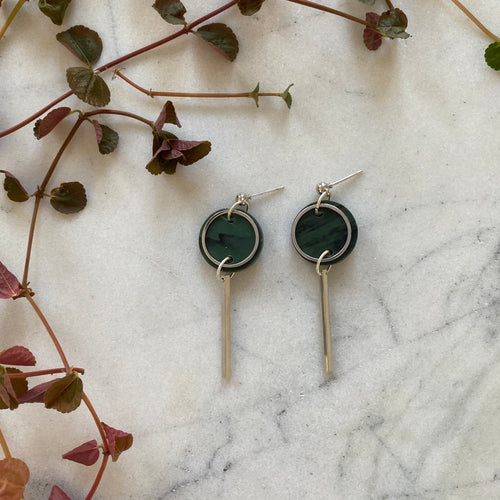 Mini Rise Earrings- Moss Green