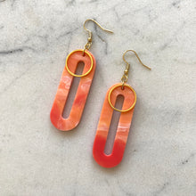 Load image into Gallery viewer, Elliptical Earrings- Precious Coral