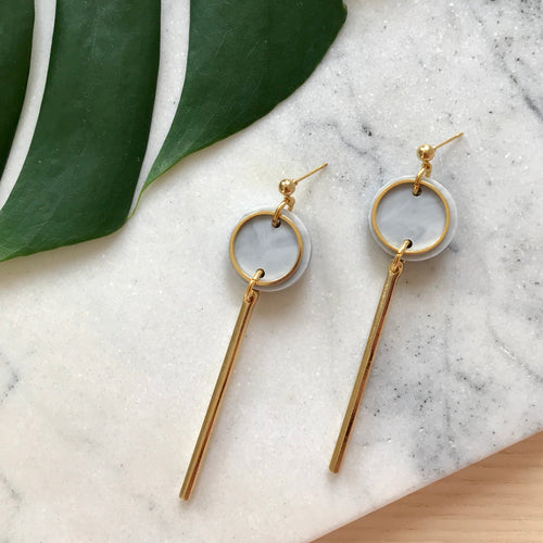 Rise Earrings- Soft Grey Marble