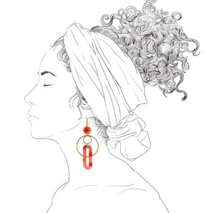 Solar Earrings- Precious Coral