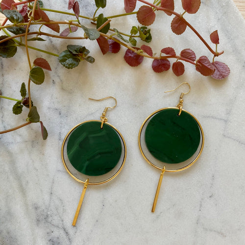 Halo Earrings- Malachite Green