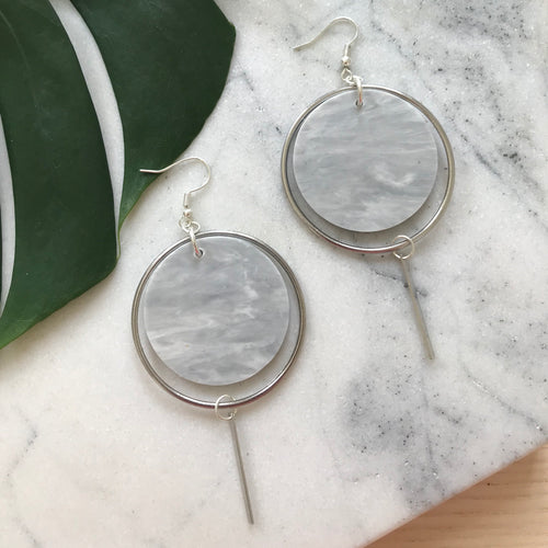 Halo Earrings- Soft Grey Marble