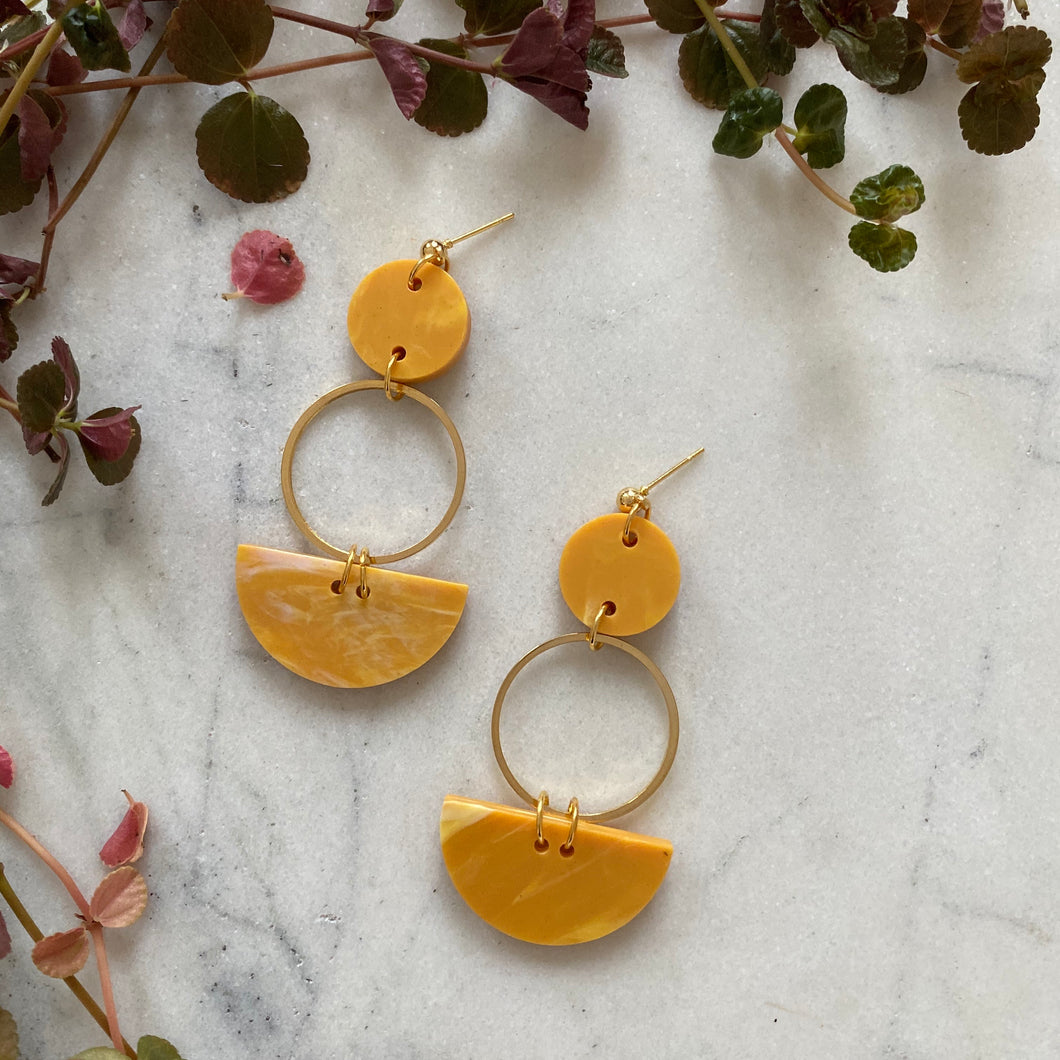 Mini Eclipse Earrings- Saffron Yellow