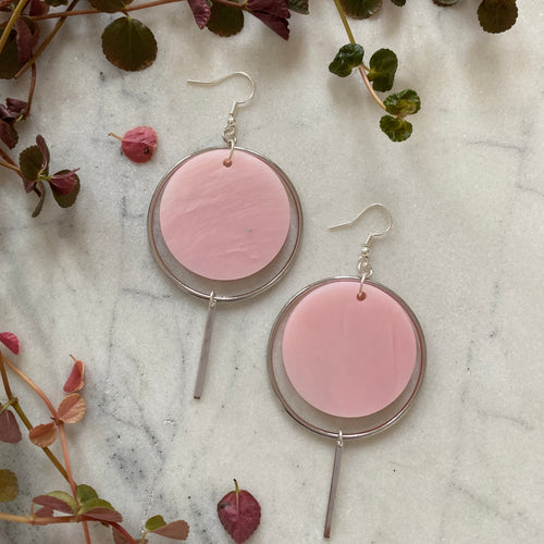 Halo Earrings- Pearlescent Pink