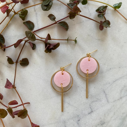 Mini Halo Earrings- Pearlescent Pink
