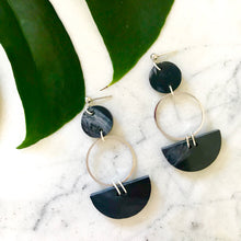 Load image into Gallery viewer, Mini Eclipse Earrings- Dark Grey Marble