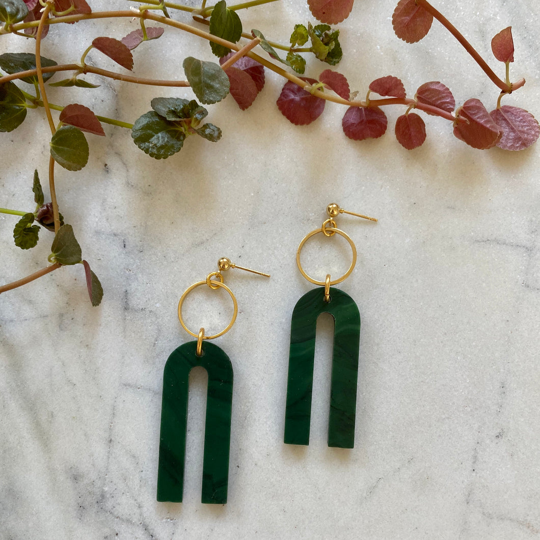 Magneto Earrings (S)- Malachite Green