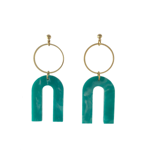 Magneto Earrings (L)- Teal Green Marble