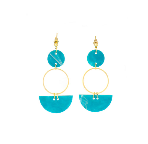 Mini Eclipse Earrings- Teal & Gold