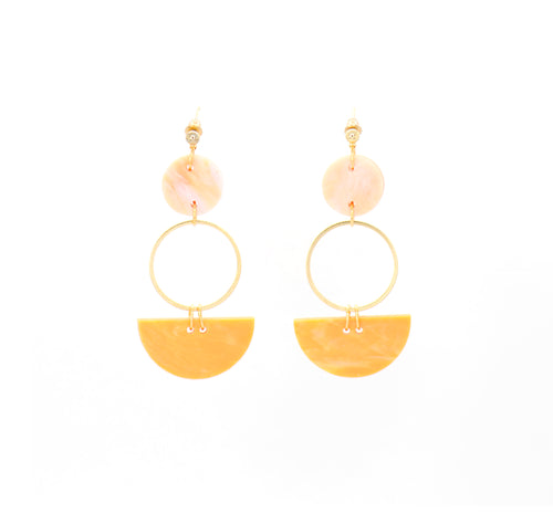 Mini Eclipse Earrings- Turmeric & Peach Agate