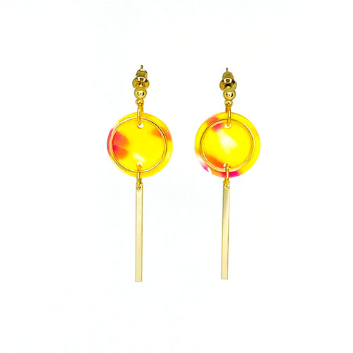 Mini Rise Earrings- Yellow Confetti