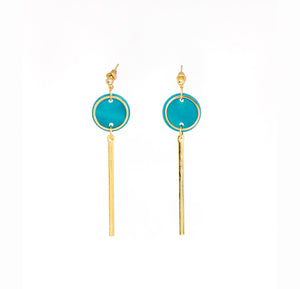 Rise Earrings- Teal & Gold