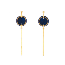 Load image into Gallery viewer, Rise Earrings- Dark Navy Blue Marble