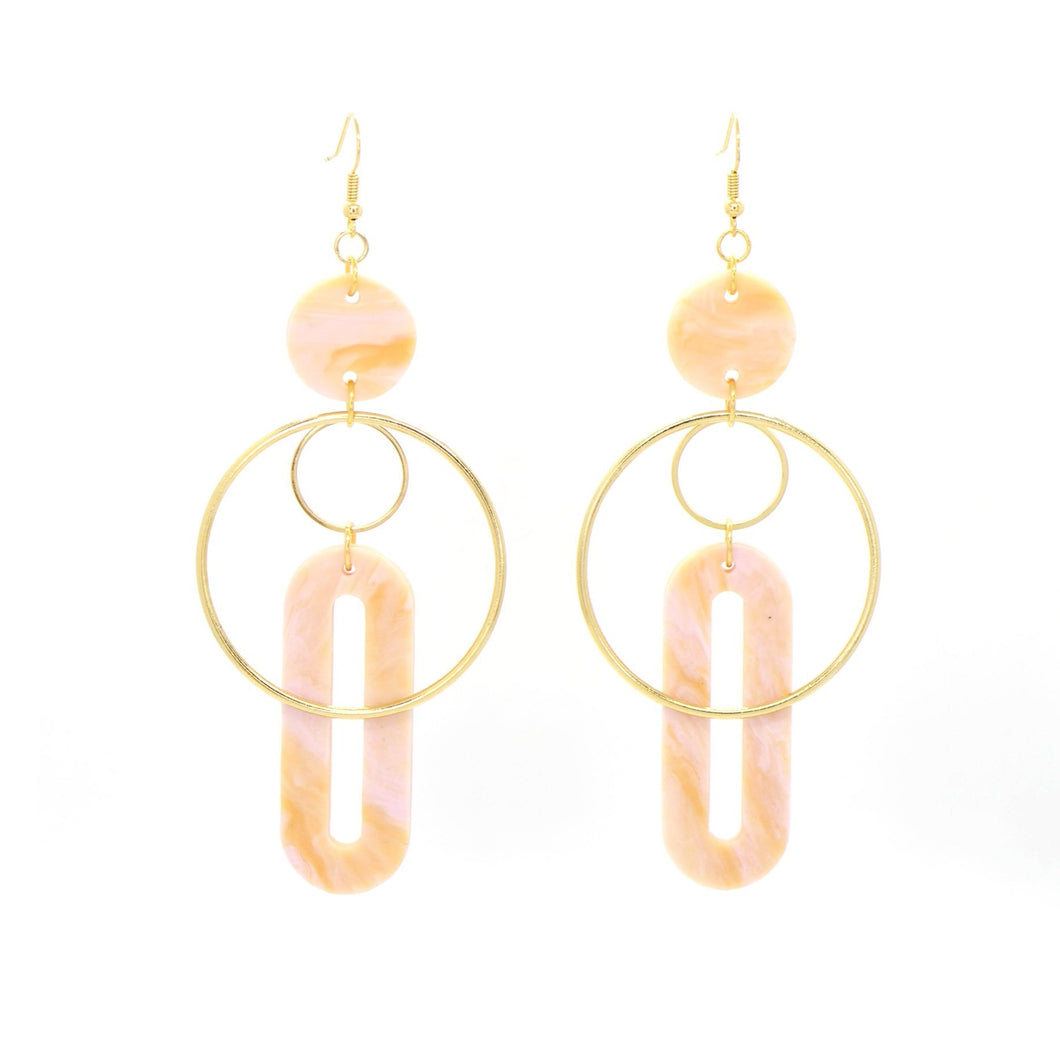 Solar Earrings- Peach Agate