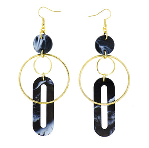 Solar Earrings- Black & White Marble