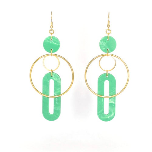 Solar Earrings- Jade Green Marble