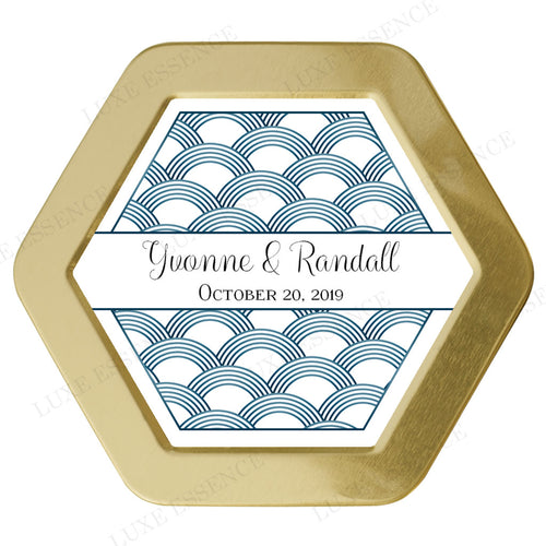 Gold Hexagon Candle With Blue Scales - Top View || Gold