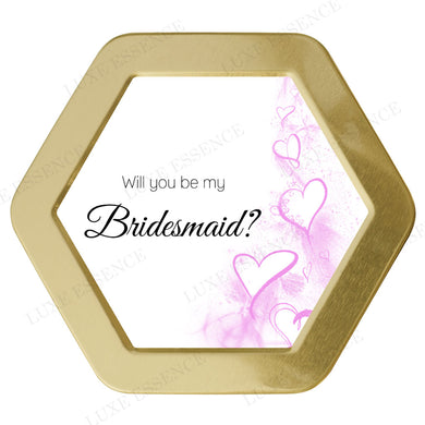 Gold Hexagon Tin With Friendship Hearts - Top View || Gold
