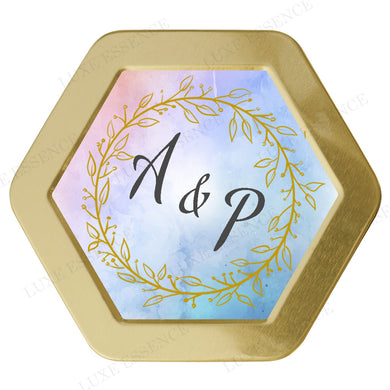 Gold Hexagon Candle With Golden Wreath Watercolor - Top View || Gold